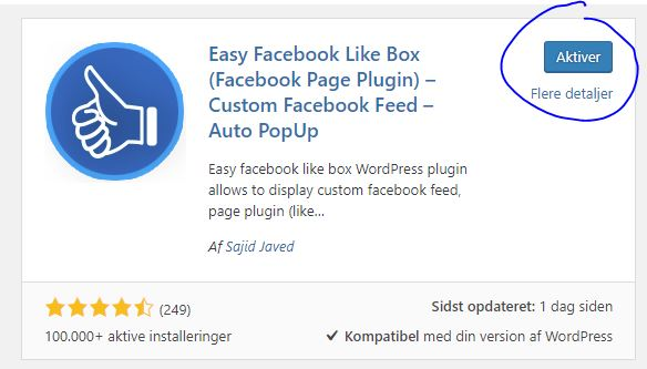 WordPress aktiver plugin