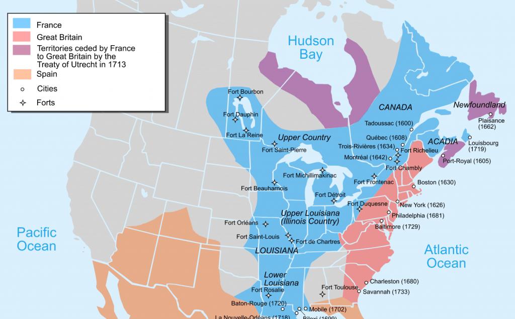 Fransk Nordamerika 1760 kort