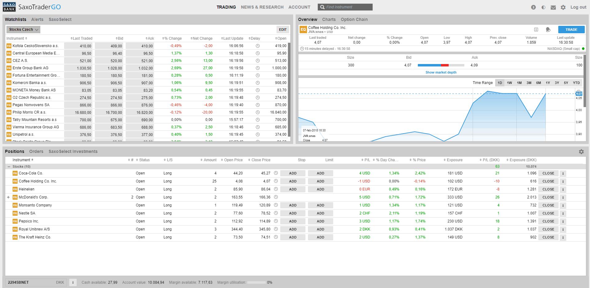 Saxo Trader screenshot