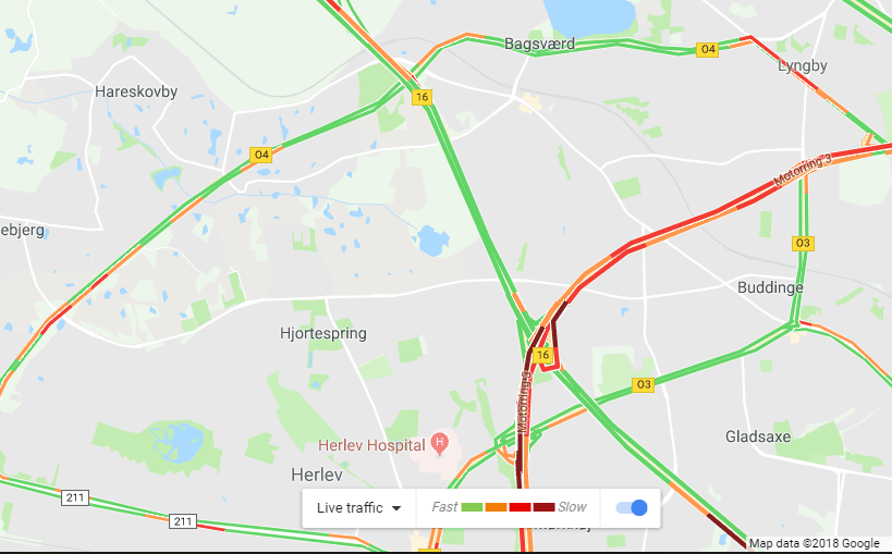 Google Maps trafikoverblik