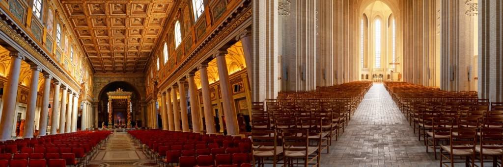To kirker, to forskellige slags arkitektur.